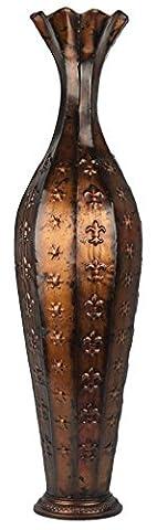Tall Metallic Bronze Metal Floor Standing Vase Embossed With Fleur De Lis & Star Pattern