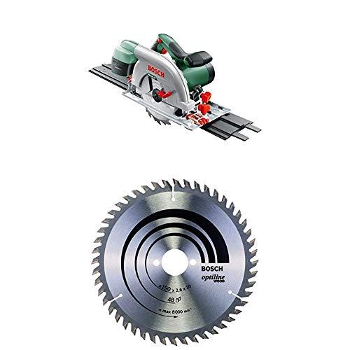 Bosch Scie Circulaire PKS 66 AF (Lame de Scie, Rail de Guidage, Carton, 1 600 W) + Lame de Scie Circulaire, 48 Dents, 30mm d'Alésage, 2.6mm Largeur de Coupe, 1.6mm Épaisseur du Corps, 190mm Diamètre