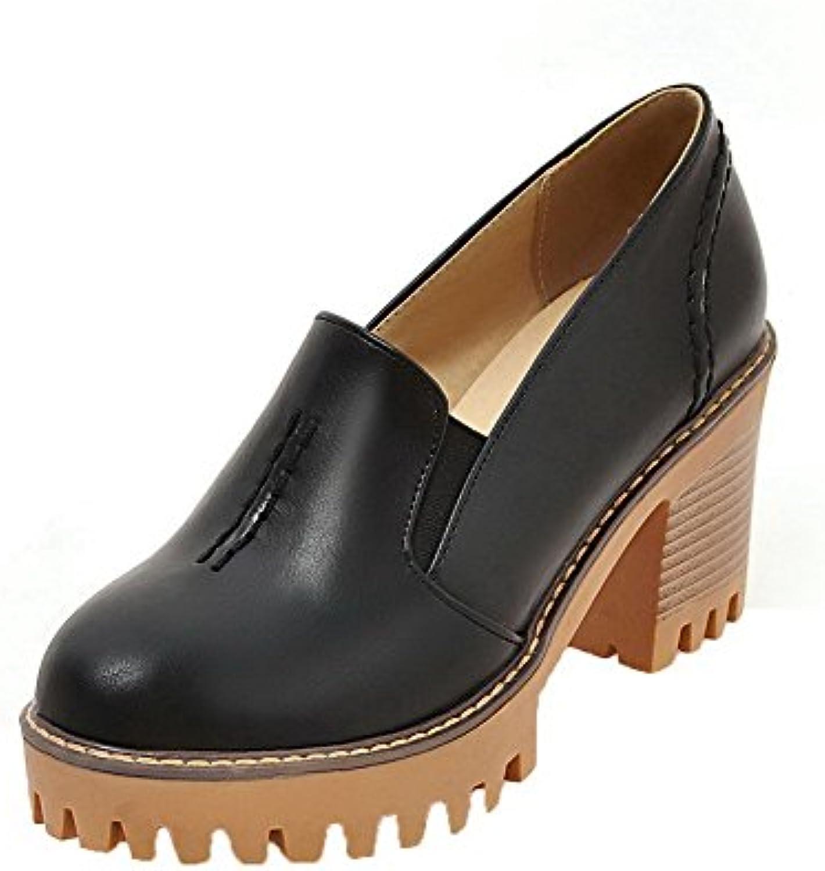 AalarDom Mujeres Sólido PU Tacón Alto Sin Cordones Puntera Cerrada Zapatos de Tacón -