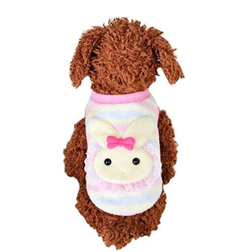 Niedliche Kleine Haustier Hundekleidung, Hmeng Karikatur Kaninchen Muster Welpen Mantel Warm Fleece Haustier Clouthes Weste für Baby Haustier Größe XXXS XXS XS (XXXS, Rosa) (Baby Cowboy Kostüm Muster)