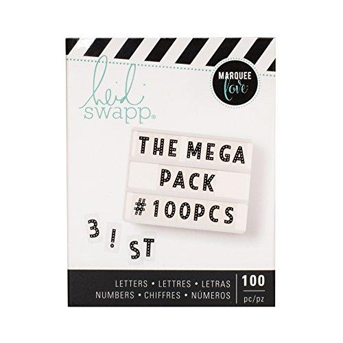 American Crafts Heidi Swapp Lightbox Mega Alphabet Pack - Punctuations and Numbers - 100 Pieces - Black - Heidi Swapp-alphabet
