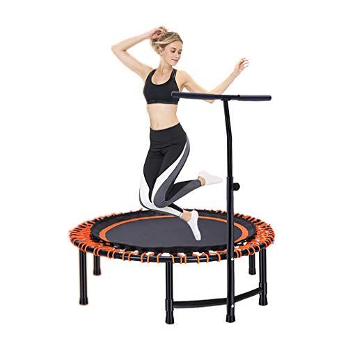 Trampolini elastici per interni trampolino elastico fitness trampolino super salto training mini trampolino professionale con manico elastico (color : orange, size : 112 * 112 * 34cm)
