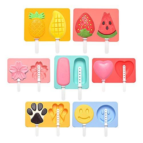 JUZEN 2 Hohlraum Cartoon EIS am Stiel Form EIS EIS am Stiel Halter Wiederverwendbare DIY Silikon Mold Tray Kirschblüte Ananas Erdbeere, mehrere Farben (Set von 14)