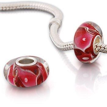 Andante-Stones perle Murano Bead Argent 925 Sterling original et massif rouge, rose, blanche Élément bille pour perles European Beads + Étui en organza