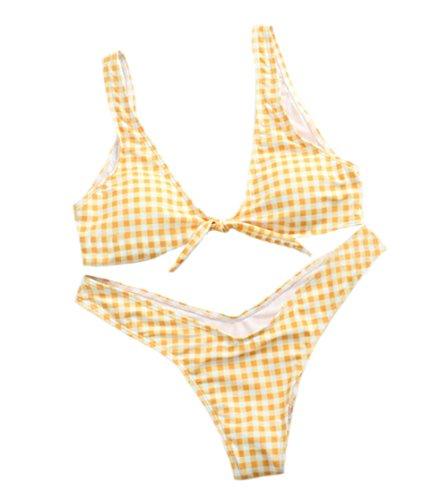 DELEY Frauen Retro Plaid Tie Knot Front Push Up Bikini Thong Unten Gepolsterte Bademode Triangle Badeanzug Gelb Größe M (Volle T-shirt-bh Der Unterstützung)