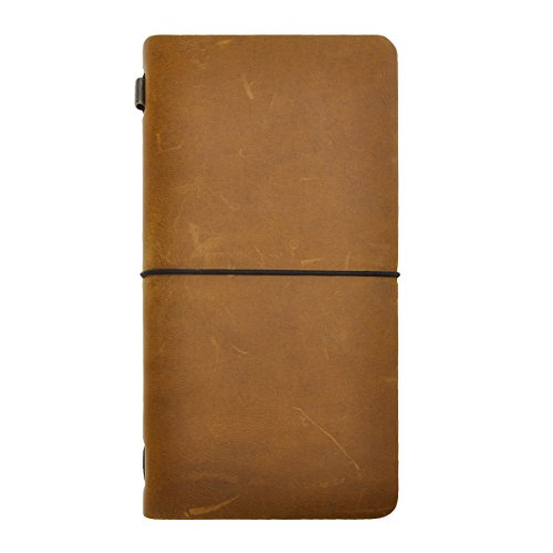 ZLYC Echtes Leder Handgefertiges Handbuch Mit Gedecktem Auskleidung Bleiben Kalender Papier Für Männer Frauen, Studenten,Gelb (Regelmäßig Größe)