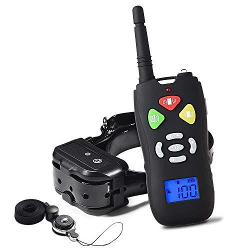 WOLFWILL No Shock Collar de Entrenamiento para Perros, Pantalla LCD, Vibración Doble Pitido, 1500ft...