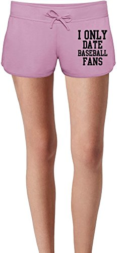 I Only Date Baseball Fans Funny Slogan Damen Sommer Sweat Shorts Summer Sweat Shorts For Women & Ladies | 80% Cotton-20%Polyester| DTG Printing| Unique & Custom X-Large