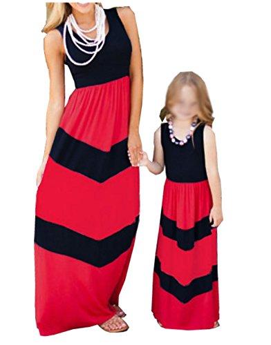 Mama und Kind Mädchen gestreiften Strandkleid Rundhalsausschnitt Maxikleider Sommerkleider Partykleid Damen