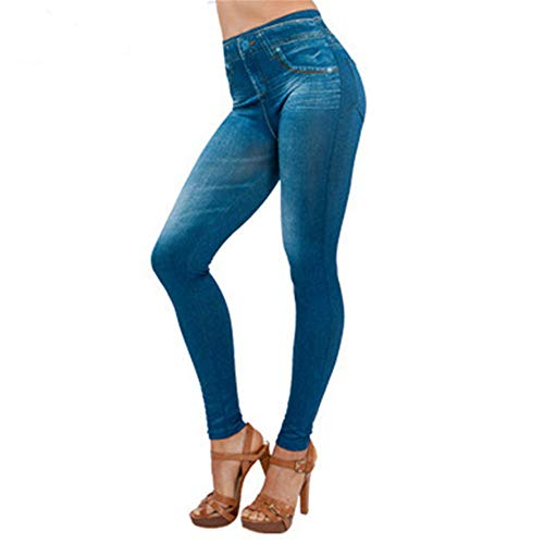 POIUDE Thermo Leggings in Jeansoptik, Leggings Yoga Sporthose Yoga Sport Pants Lang High Waist Hosen(Blau, XX-Large)