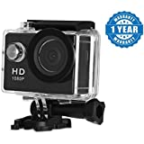 Raptas 1080P 2-Inch LCD 140 Degree Wide Angle Lens Waterproof Diving(upto 30m) Action Camera Compatible With Smart Phones