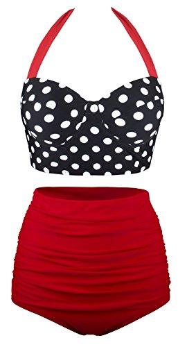 Angerella Damen Retro Stil Polka-Punkt mit hoher Taille Badeanzug Bikini Set (Strand, Bikini Frauen,)