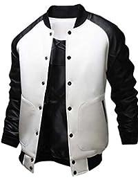Naughtyman Veste de baseball pour home, manches en cuir, jacket bomber, col montant