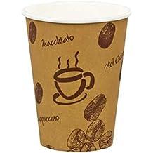 "400 unidades taza de café premium,""café"", cartón, 8 onzas, 200 ml/de resistente al calor ""café"" Taza con diseño de ""granos"". De 100% reciclable."
