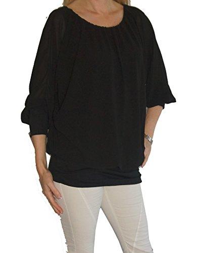 Am Laufsteg Weit Geschnittene Langarm-Chiffon-Bluse, Rundhals-Ausschnitt, Uni-Größe - passt von Gr. 36 bis 44, schwarz
