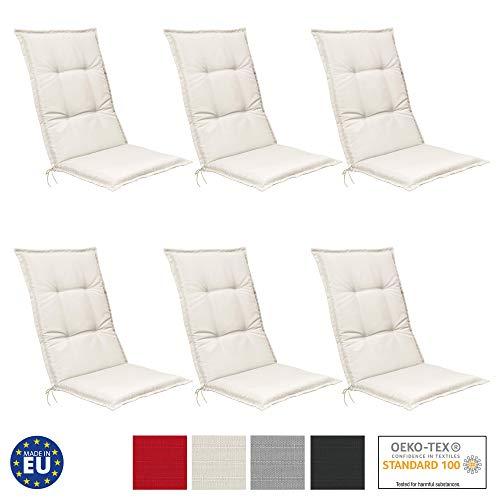 Beautissu Set de 6 Cojines para sillas de Exterior, tumbonas, mecedoras o Asientos con Respaldo Alto...