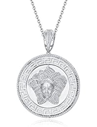 "Silvernshine 1.25 Ct Round Cut D/VVS1 Diamond Versa Pendant 18"" Chain In 14K White Gold Over"