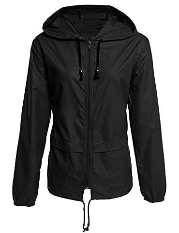 Caeasar Funktionsjacke Wasserdicht Winddicht Übergangsjacke Regenjacke mit Kapuze Tasche Regenparka Atmungsaktiv Damen Jacke