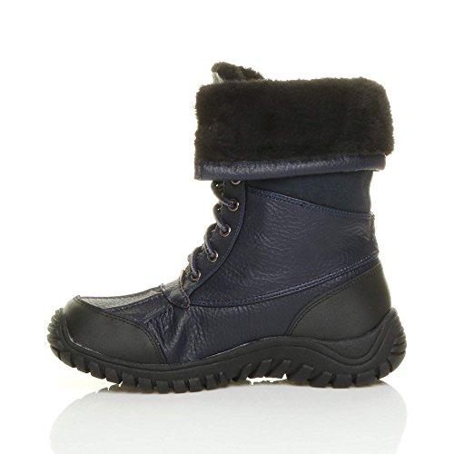 Donna basso inverno neve stringhe pelliccia stivali polpaccio caviglia taglia Blu marino scuro