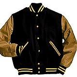 Windhound Original College Jacke schwarz mit camel Echtleder Ärmel XXL