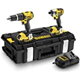 DeWalt 18V XR Lithium-Ion Combi Drill and Impact Driver with Batteries (Twin Pack)
