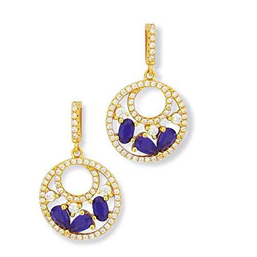 SF Bijoux-Pendientes Chapado en oro oz azul zafiro-(para fresadora)