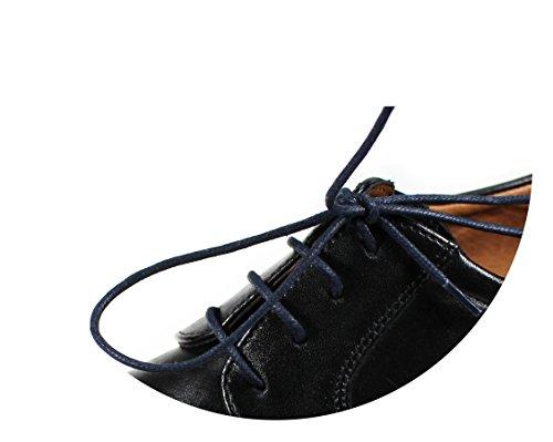 Loco!Laces- Gewachste, Bunte, farbige, Runde Schnürsenkel für Business-Schuhe und Anzug-Schuhe! 80cm Länge 2,5 mm Durchmesser 3er Pack (3X Schwarz)