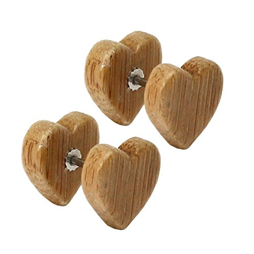 tumundo Set de 4 Paires / 1 Paire Faux Plugs Fake Tunnel Coeur Boucle d'oreille Fakeplugs Piercing Bois Marron Beige 8mm - beige