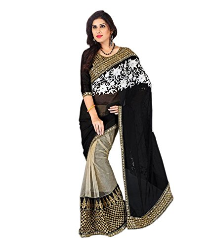 Koroshni sarees for Women Embroidered Orange Half And Half Georgette Saree latest designer Saree With Blouse Material  available at amazon for Rs.529