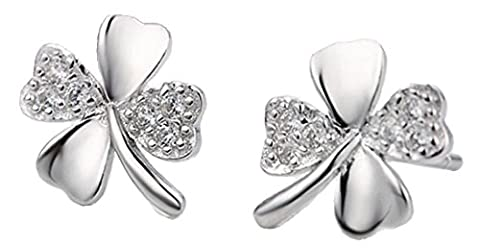 Silver & Crystal Shamrock Design Fashion Stud