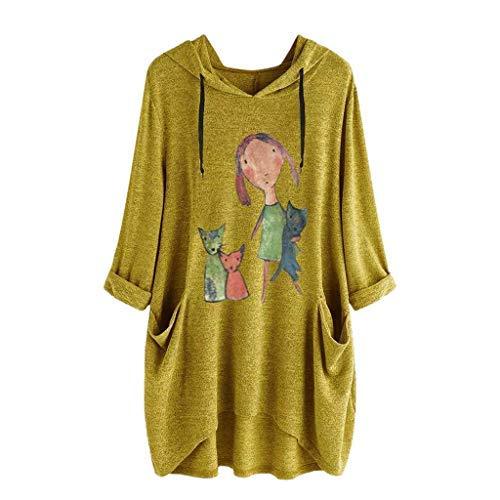 iHENGH Damen Top Bluse Lässig Mode T-Shirt Frühling Sommer Frauen Bequem Blusen Casual Print Lange Ärmel Seitentasche Mit Kapuze Unregelmäßige Tops Shirts(Gelb, L)