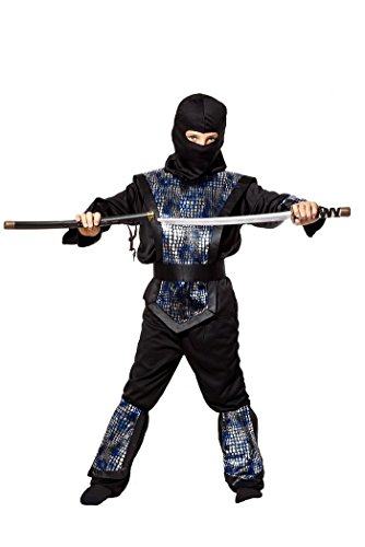 Ninja Kostüm Kinder schwarz silber blau - komplettes 6-teiliges Ninja Kostüm für Jungen (122/128) (Jungen-kostüm Ninja)