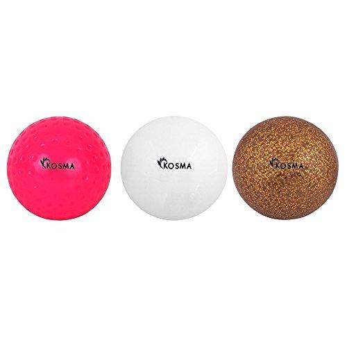 Kosma hoyuelo Set de 3 bolas de Hockey | Deportes PVC Bolas de formación práctica (hoyuelo rosa, blanco liso, Golden Gliter | Regalo perfecto para navidad y cumpleaños.