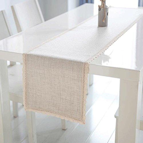 QZZ Nappes Table de thé à base de lin blanc et crémeux Table à manger Manteau Table Runner ( taille : 30*160cm )