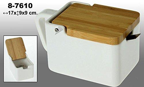 DonRegaloWeb Sucrier Rectangulaire en Céramique Blanc/couvercle en bois