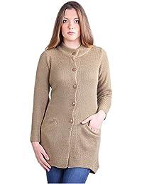 Montrex Acro Wool Winter Long Coat for Women, Girls (Brown)