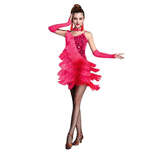 Xinvivion Latein Tanz Kleid für Damen - Walzer Ballsaal Tanzen Praxis Kostüm Paillette Quaste Tanzbekleidung (Ballsaal Tanz Kostüm)