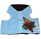 Twinkys Dog Style Softgeschirr M Babyblau mit Herz Patch Halsumfang 28 cm - 32 cm Brustumfang 40 cm - 46 cm