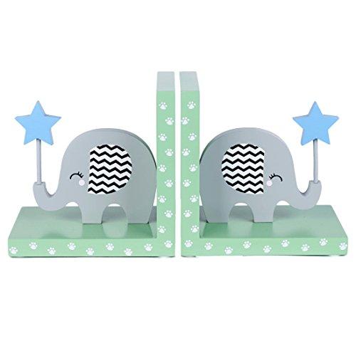 Tinkie Toys Handgefertigte Hölzerne Elefanten Buchstützen für Kinder, Jungen, Mädchen, Bücherregal, Spielzimmer oder Kinderzimmer.