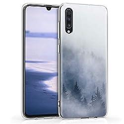kwmobile Samsung Galaxy A70 Hülle - Handyhülle für Samsung Galaxy A70 - Handy Case in Nebelwald Design Hellgrau Blau Dunkelgrau