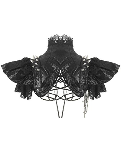 Steampunk Bolero mit Dornen RQ-BL 21142 Jacke Kunstleder Damen Burning Man Gothic (Jacke Outfit Shirt)