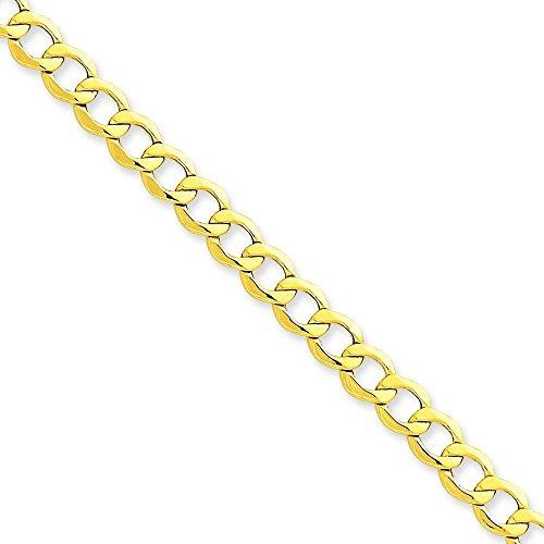 Or 14ct 6.0mm semi-Solide Chaîne gourmette Link Bracelet-Longueur Options: 18-20