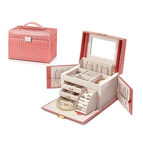GHMM Obstkörbe Schmuck Aufbewahrungsbox, Hochzeit mit Schloss Reisen Halskette Ring Organizer Geburtstagsgeschenk (Farbe : Light pink) - Chrom-speicher-korb