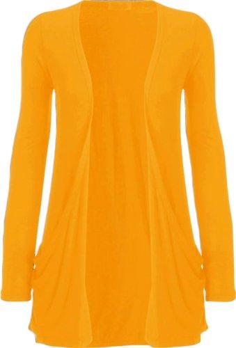 Nouveaux Femmes Grande Taille manches longues de base ordinaire Cardigan Top 36-54 Mustard