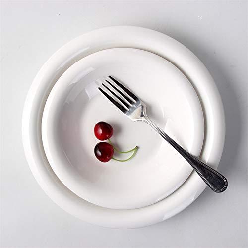 Messen Pie Plate (Runde tiefe Suppenteller reine weiße Keramik Pasta Platte Haushalt einfache Scheibe westlichen kreative Gerichte Gerichte)