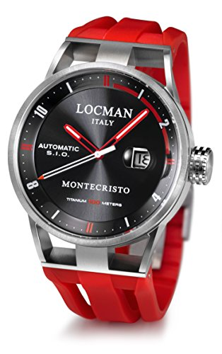 Locman Italy Men's Analog Automatic-self-Wind Watch with Rubber Strap 051100BKFRD0GOR
