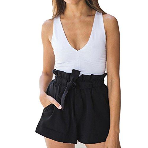 Kurzehose Damen,Sonnena Sommer Mode Frauen Hohe Taille Boho Print Shorts Mini Hosen Damen Elegant Lose Tunnelzug Crepe Hotpants Lässig Reizvoller Kurze Hose Sommerhose -