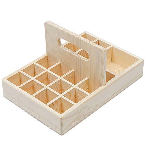 PhantomSky 21 Löcher Holz Organizer Aromatherapie Geschenk-Box Halter Ätherische Öle Flaschen Aufbewahrung Display Regal - Geeignet für Nagellack, Duftöle, Ätherisches Öl, Stain und Lippenstift -