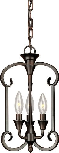 Forte Lighting 7000-03-32 Traditional 3-Light Foyer Pendant with Antique Bronze Finish, Antique Bronze Finish by Forte Lighting -