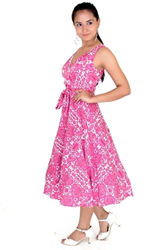 Robe 40s 50s Swing Vintage Rockabilly Femmes Rétro Bal Grande Taille 10 - 28 Rose